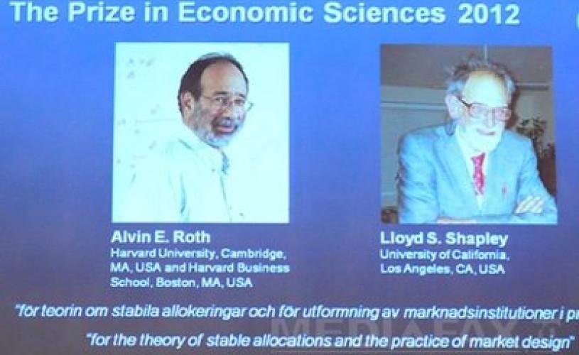 Premiul Nobel pentru economie a fost acordat americanilor Alvin E. Roth şi Lloyd S. Shapley