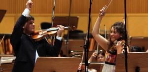 Liviu Prunaru (Stradivarius) şi Valentina Svyatlovskaya (Guarneri), la Sala Radio