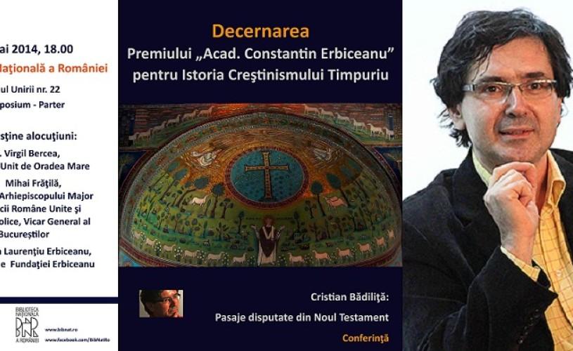"""Cristian Bădiliţă, premiul """"Acad. Constantin Erbiceanu"""""""
