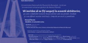 """Concert aniversar - Universitatea Naţională de Muzică """"dă tonul"""" de 150 de ani"""