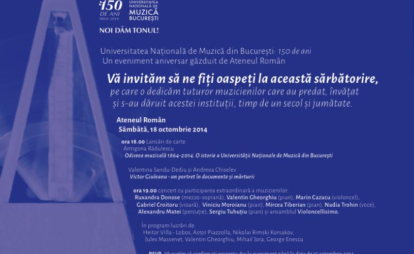 """Concert aniversar – Universitatea Naţională de Muzică """"dă tonul"""" de 150 de ani"""
