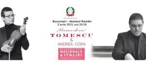 Alexandru Tomescu și Andrea Coen, concert aniversar de Ziua Italiei