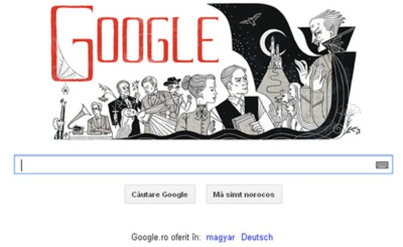 """GOOGLE sărbătoreşte165 de ani de la naşterea scriitorului BRAM STOKER, autorul celebrului roman """"Dracula"""""""