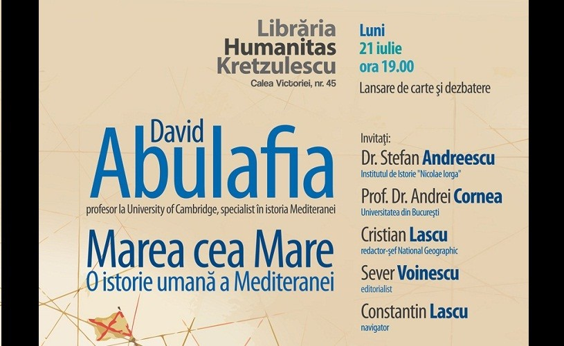 Marea cea Mare. O istorie umană a Mediteranei, pe terasa Humanitas Kretzulescu