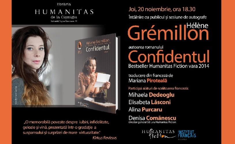 Helene Gremillon, autoarea romanului Confidentul, la Humanitas Cişmigiu