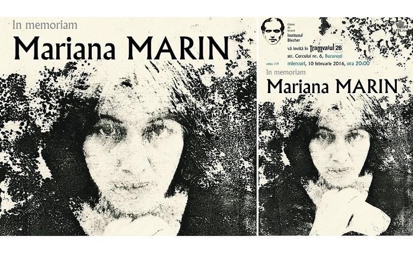 In Memoriam Mariana Marin – miercuri, de la ora 20, la Tramvaiul 26