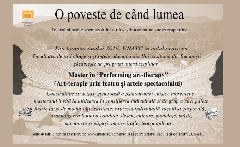 Master Art-terapie prin teatru si artele spectacolului la UNATC