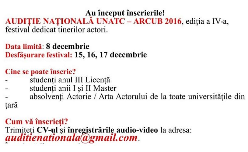 Ultimele zile de înscriere la Audiție Națională UNATC – ARCUB 2016