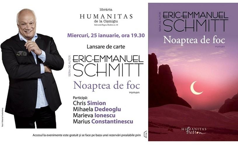 """""""Noaptea de foc"""" de Eric-Emmanuel Schmitt – lansare cu spectacol-lectură"""