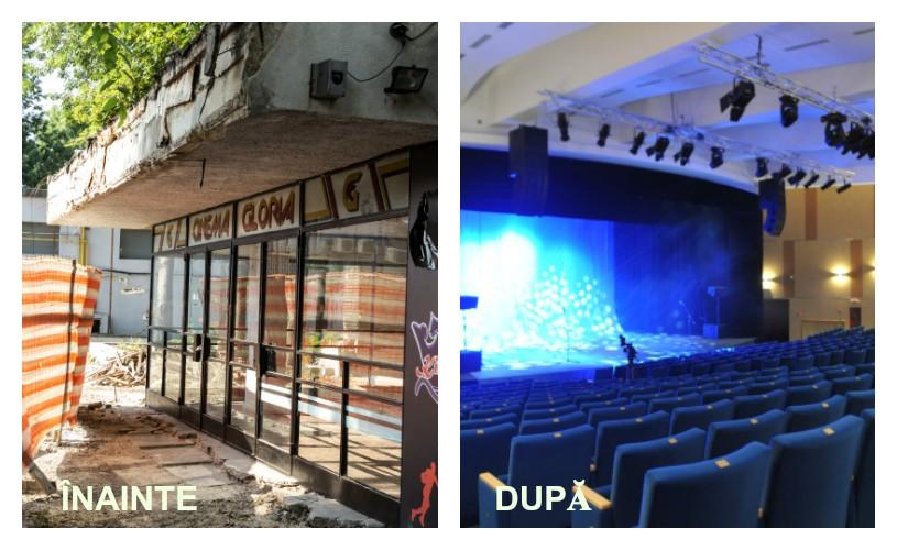 Înainte și după. Cum arăta și cum arată noua sală a fostului cinematograf Gloria