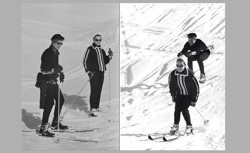 Undeva, cândva… Alain Delon și Romy Schneider, la schi