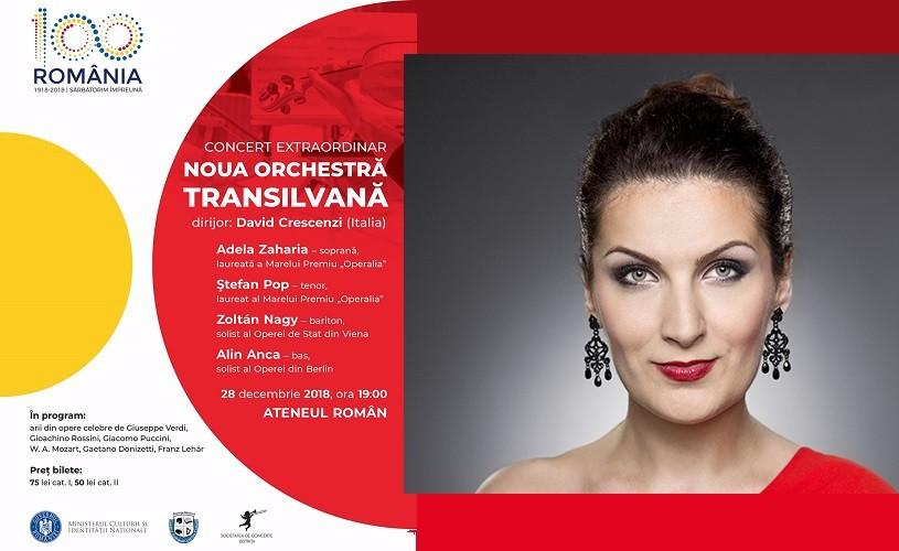 Adela Zaharia, Ştefan Pop, Zoltan Nagy şi Alin Anca,gală extraordinară de operă la Ateneul Român