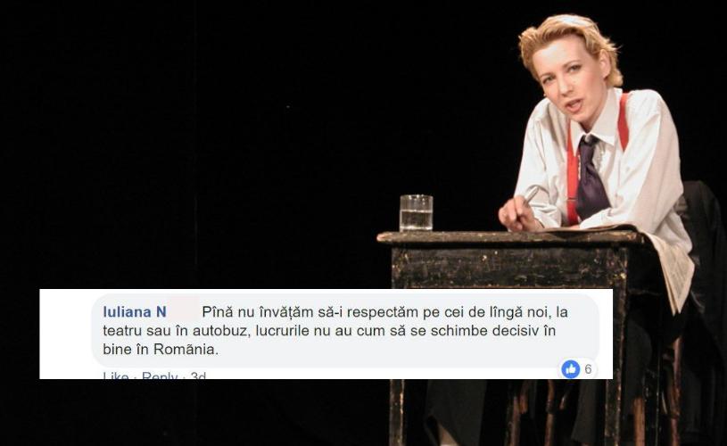 Publicul reacționează la apelul Mirelei Oprișor, care a cerut decență în sala de teatru