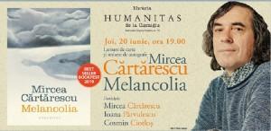 Cărtărescu și invitații săi despre 'Melancolia' - joi, 20 iunie, de la ora 19.00, la Humanitas Cișmigiu