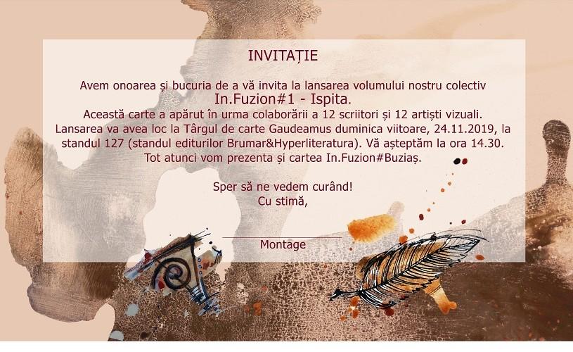 """Lansare de carte: """"InFuzion#Ispita"""", la Gaudeamus 2019"""