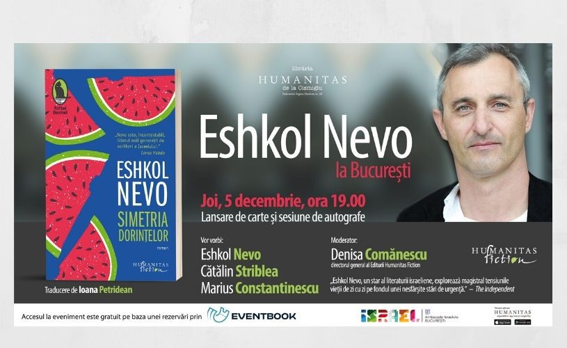 Eshkol Nevo, liderul noii generații de scriitori israelieni, vine la Librăria Humanitas de la Cișmigiu