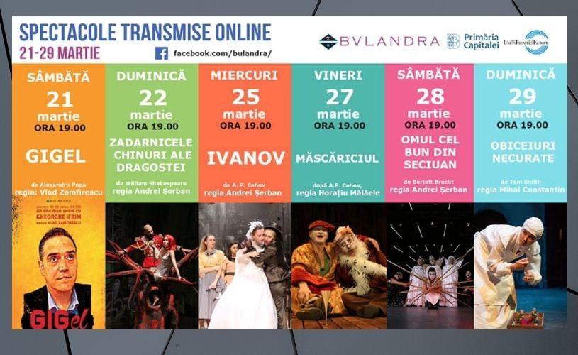 Teatrul Bulandra transmite spectacole gratuit online