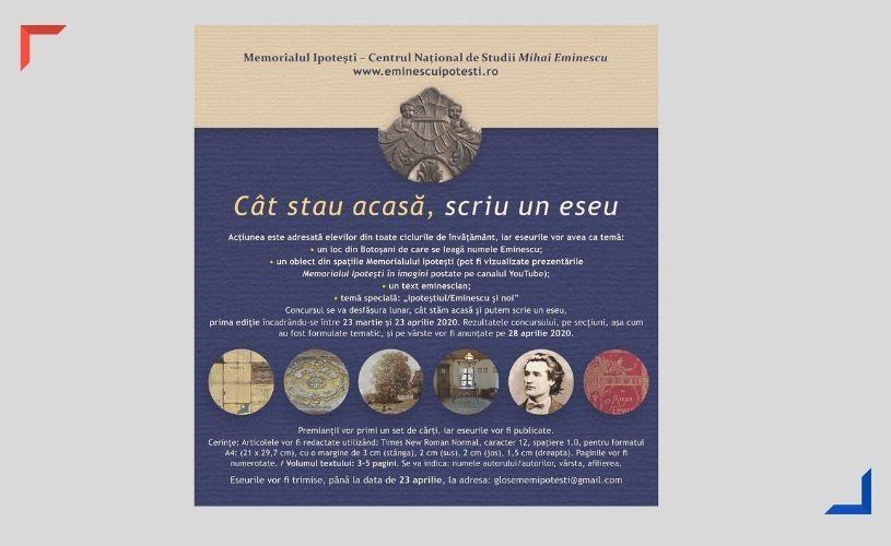 CÂT STAU ACASĂ, SCRIU UN ESEU (concurs pentru elevi) până pe 23 aprilie 2020