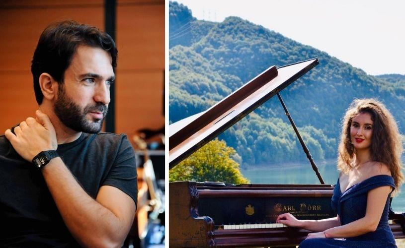 Dirijorul libanez Lubnan Baalbaki și pianista Sînziana Mircea, în primul concert cu public la Sala Radio!