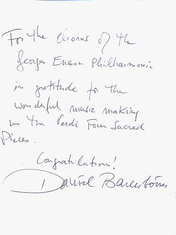 Daniel Barenboim felicita Corul Filarmonicii