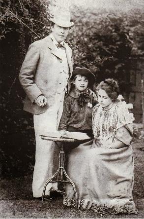 Constance Wilde împreună cu Oscar Wilde şi unul dintre cei doi fii ai lor