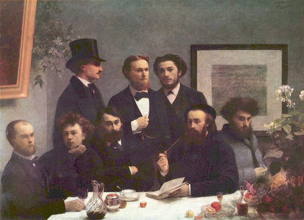 Paul Verlaine și Arthur Rimbaud (jos, în stânga tabloului), tablou de Henri Fantin-Latour
