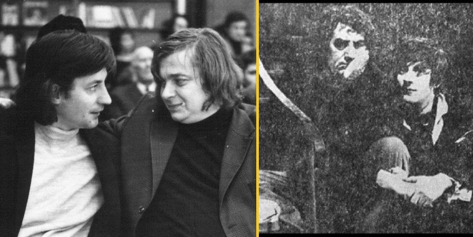 Ion Caramitru alături de Nichita Stănescu (stânga) şi Toma Caragiu (dreapta).