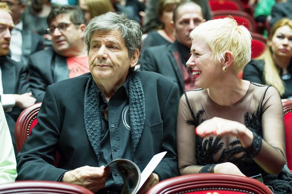 Împreună cu Alexander Hausvater, la Gala Premiilor UNITER 2015. Regizorul a fost recompensat cu Premiul de Excelenţă pentru întreaga activitate. Foto: Florin Biolan