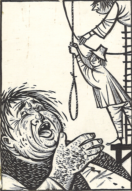 Val Munteanu, Povestea lui Stan Patitul, 1961, ink on  cardboard, 34 x 22 cm, courtesy Nasui Collection & Gallery