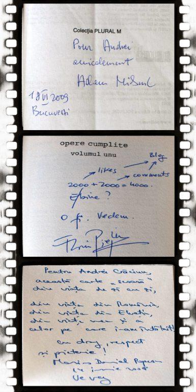 Trei autografe, de la Adam Michnik, Florin Piersic Jr. şi Marius Daniel Popescu