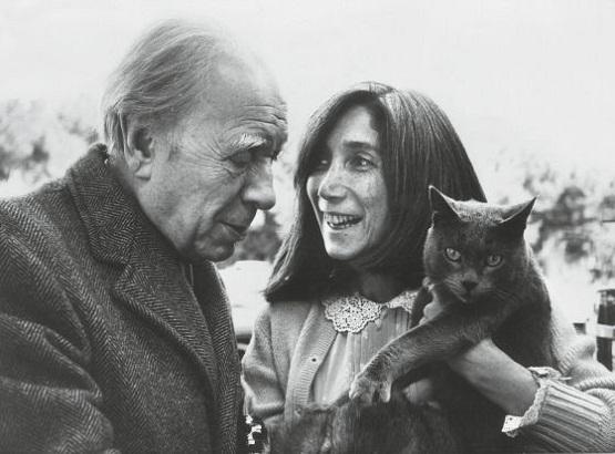 Borges, la Roma, in 1970, cu cea de-a doua si ultima sa sotie, Maria Kodama