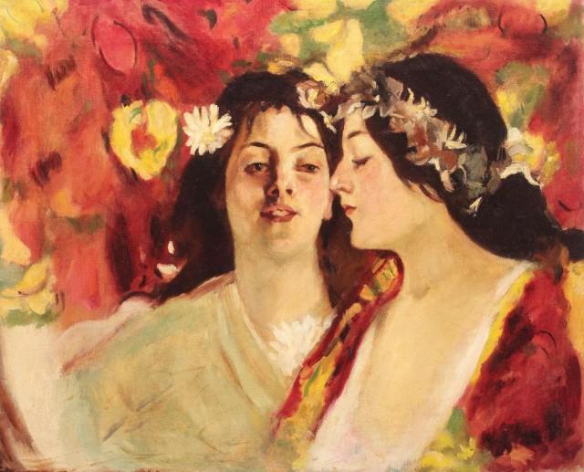 """Tabloul """"Primăvară"""" sau """"Două muze"""" semnat de Ştefan Luchian a fost adjudecat la licitaţia Art Nouveau şi Romantism organizată de Artmark în capitală la preţul de 100.000 de euro."""